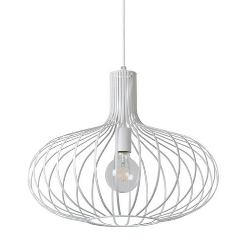 Ronde hanglamp wit met platte strips