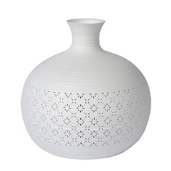 Porseleinen tafellamp wit met decoratief dessin
