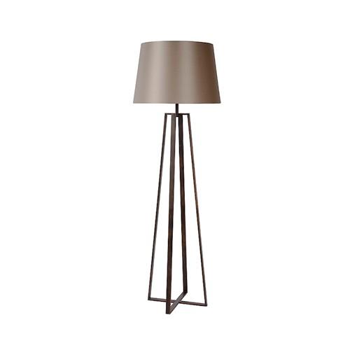 luxe staande lamp bruin met kap van stof