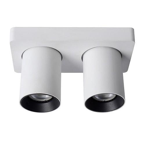 Plafondspot 2-L tube wit/zwart+gu10 dtw