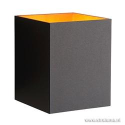 Zwarte wandlamp vierkant binnenkant goud