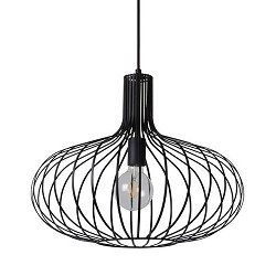Draad hanglamp zwart groot