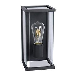 Strakke wandlamp metaal met glas buiten