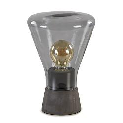 Smoke glazen tafellamp met betonnen voet