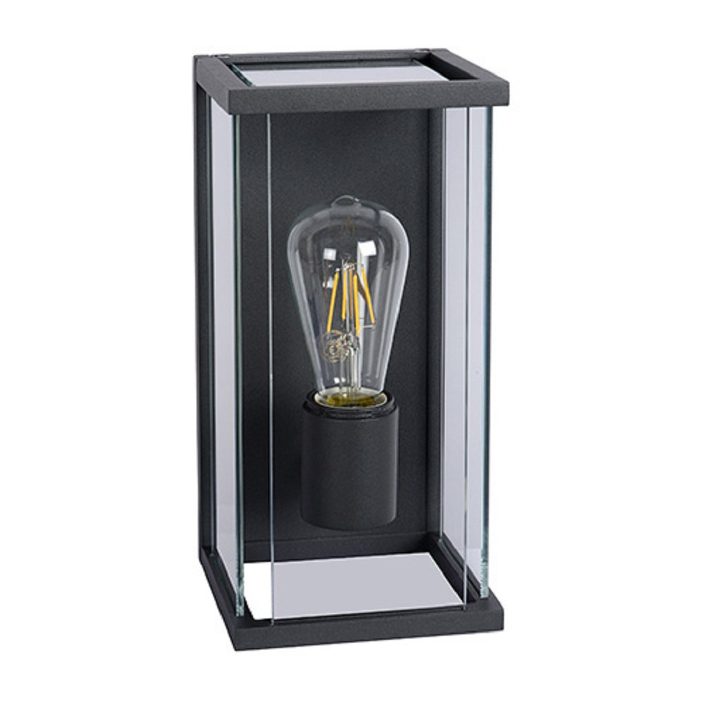 Buitenlamp antraciet/glas + bew.sensor IP54