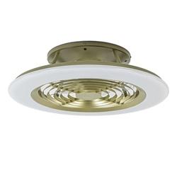Plafondventitalor goud met wit inclusief LED en bluetooth
