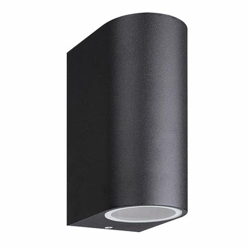 Buitenlamp up+down zwart afgerond IP54