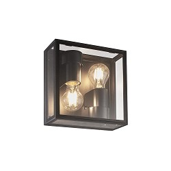 Vierkante buitenlamp antraciet frame met glas IP65