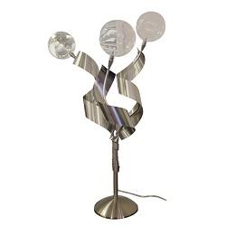 *Tafellamp nikkel, glas