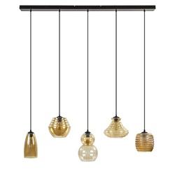 5-Lichts hanglamp- multipendel amber glas met zwart