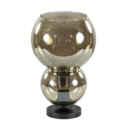 Trendy tafellamp met smoke glazen kap