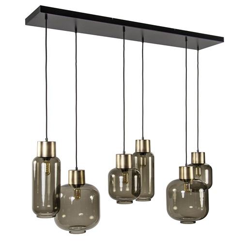 Luxe multipendel hanglamp 6-lichts smoke glas/ brons
