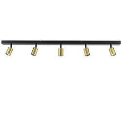 Langwerpige 5-lichts opbouwspot mat zwart met goud