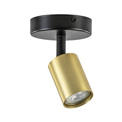 Design opbouwspot GU10 mat zwart met goud