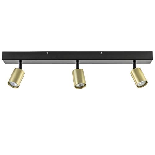 3-Lichts mat zwarte plafondlamp met gouden spots