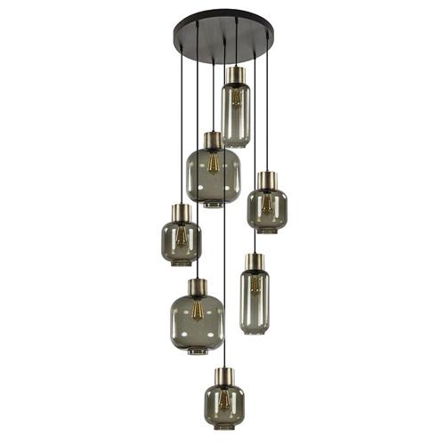 Luxe 7-lichts videlamp zwart/brons met smoke glas