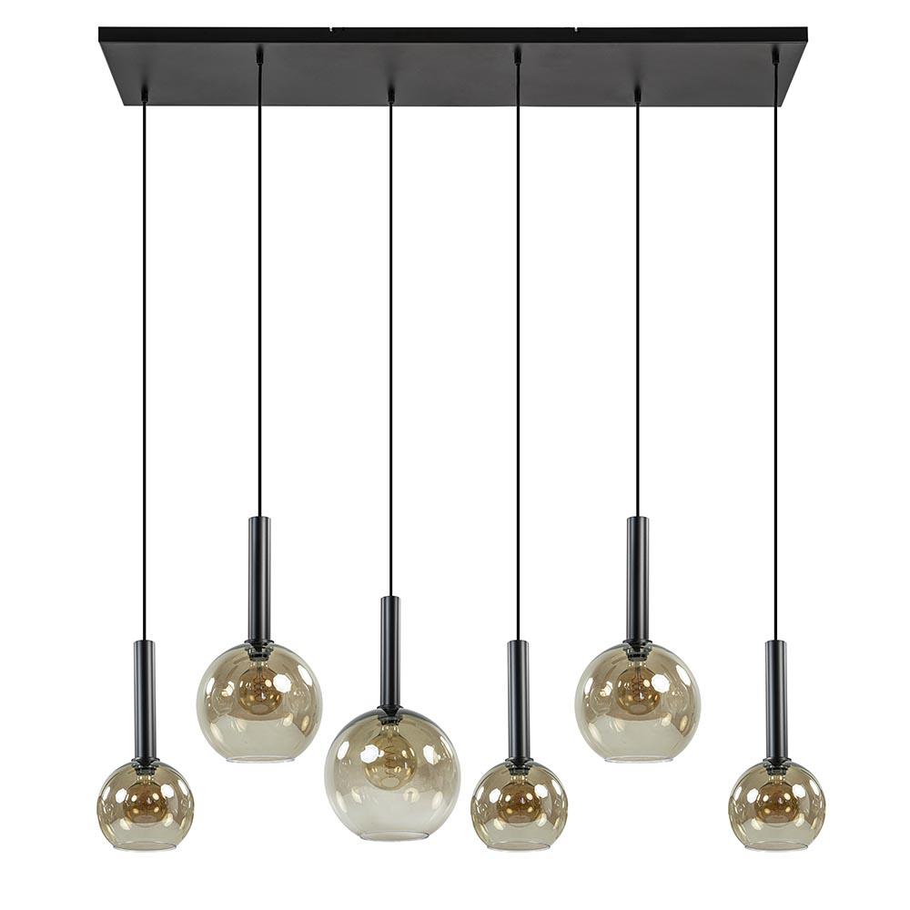 Hanglamp Bella Smoke 6L multipendel zwart/glas mix