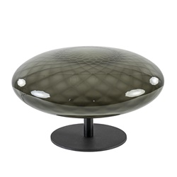 Strak klassieke tafellamp met decoratief smoke glas