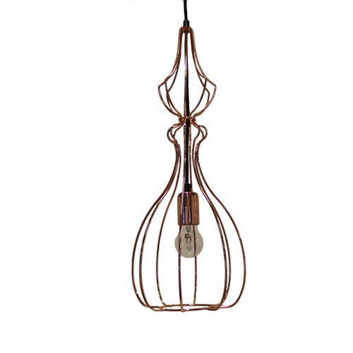 *Hanglamp draadkap koper keuken-eettafel