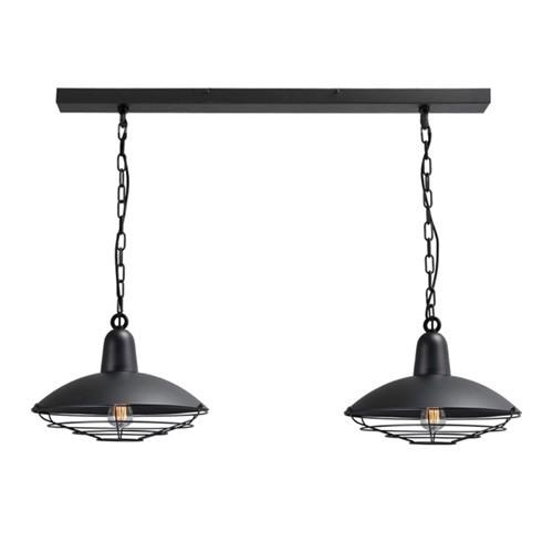 Industriele hanglamp 2 lichts eettafel
