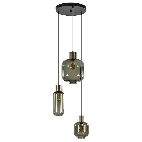 Luxe 3-lichts ronde hanglamp smoke glas met brons