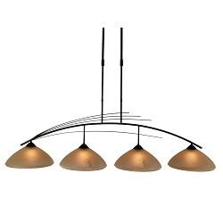 *Klassieke eettafel hanglamp bruin-glas