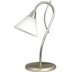 **Tafellamp Latina nikkel wit glas
