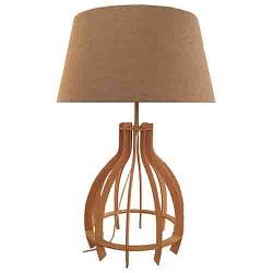 *Trendy houten tafellamp met linnen kap