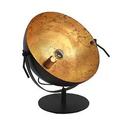 Industriële tafellamp koepel zwart goud