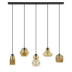 5-Lichts hanglamp amber glas met zwart