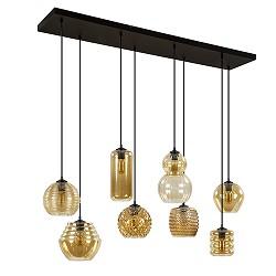 **8-Lichts hanglamp amber glazen kappen