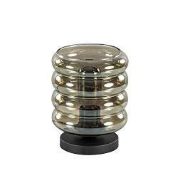 Moderne tafellamp zwart met smoke glas