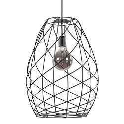 Moderne draad hanglamp mat zwart 42 cm