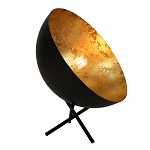 *Tafellamp koepel 'Gun Metal' met goud
