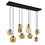 *8-Lichts hanglamp amber glazen kappen