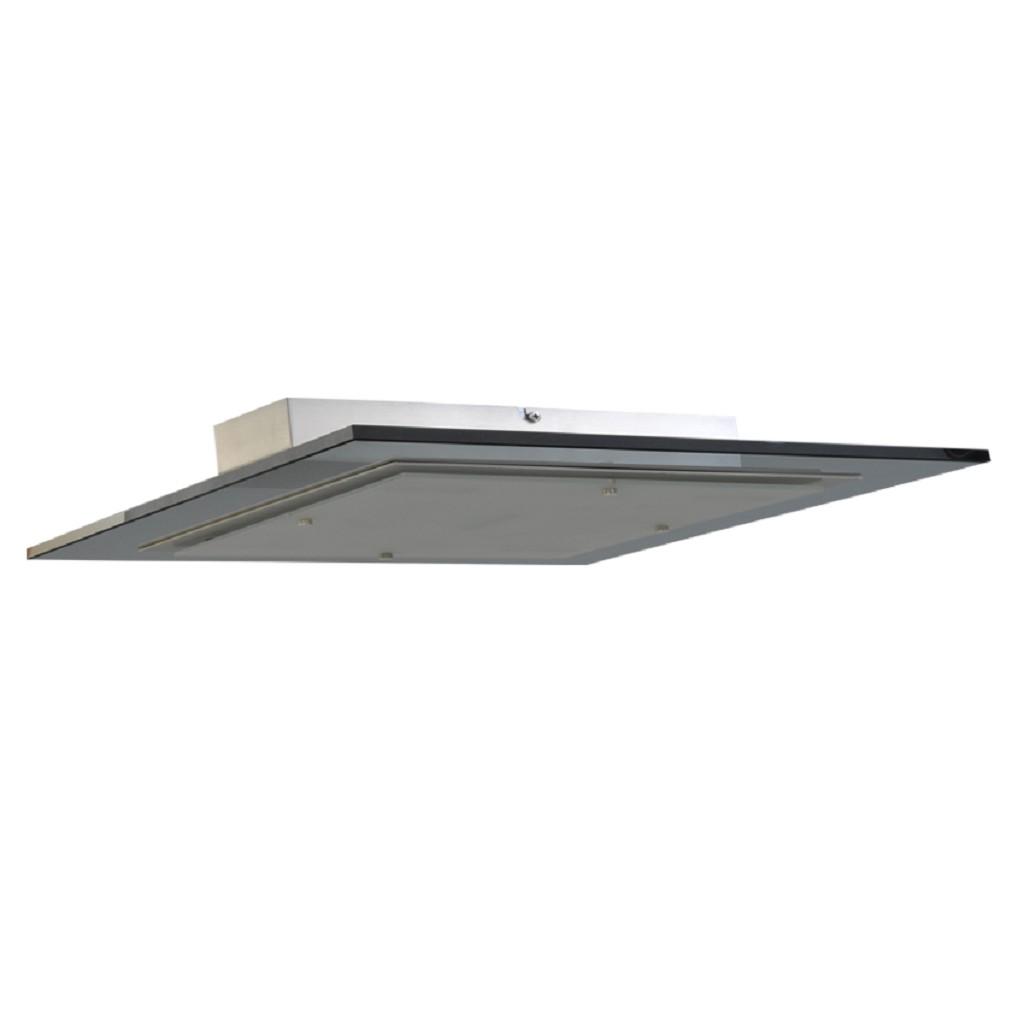 Moderne plafondlamp zwart glas nikkel