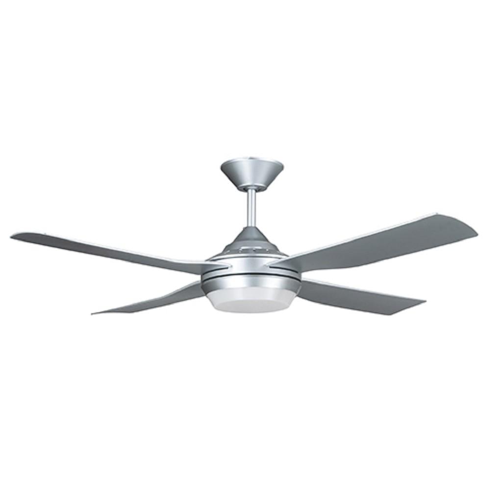 Ventilator grijs met LED en afstandsbed.