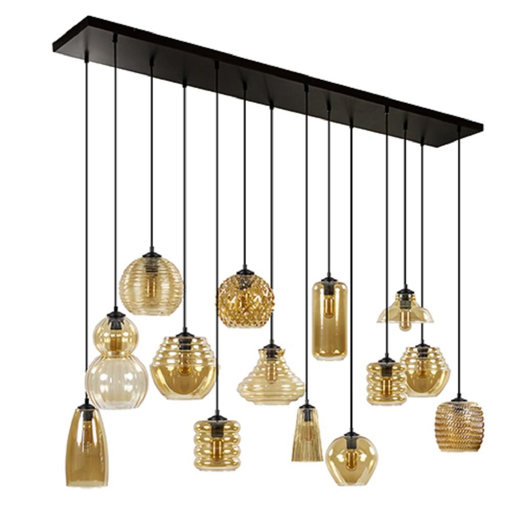 Hanglamp compositie 14x amber glas/zw