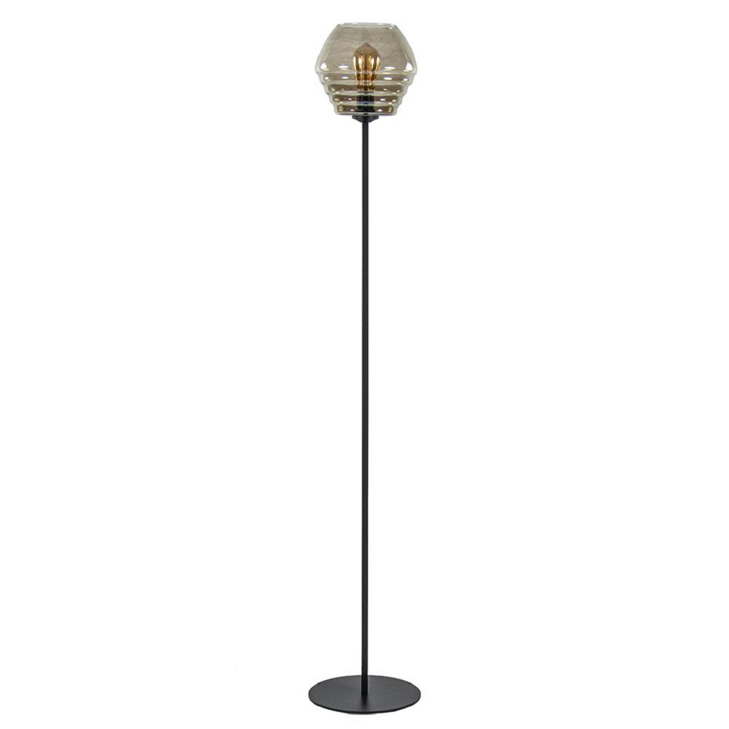 Moderne vloerlamp zwart met smoke glas