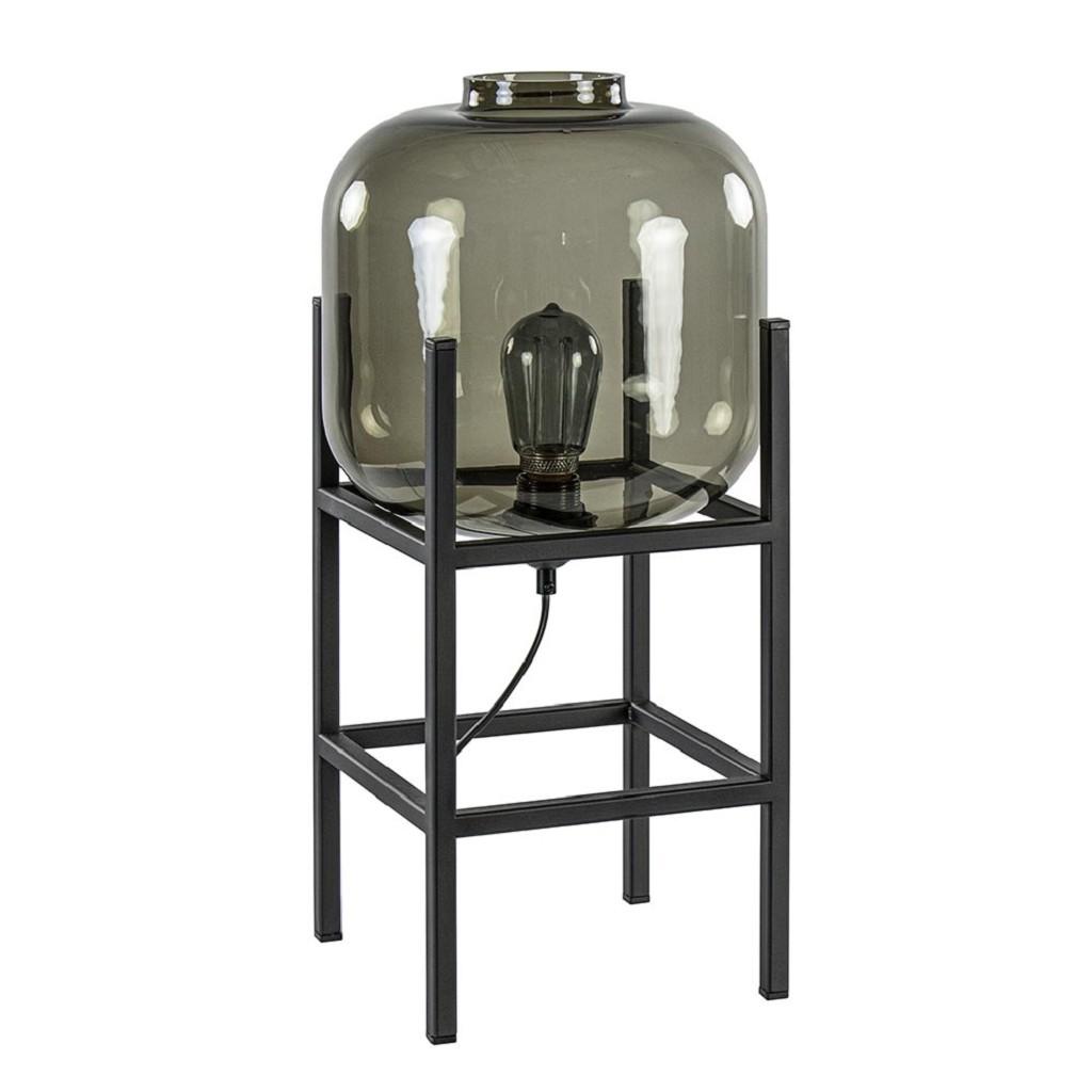 Tafellamp zwart frame met smoke glazen kap