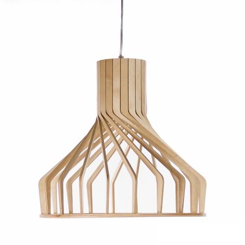 lamellen hanglamp hout met twist | straluma