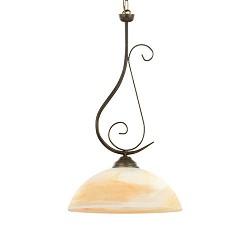 Klassieke hanglamp bruin met glas