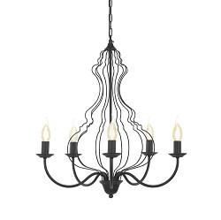 *Zwarte kroonluchter-hanglamp 'Margaret'