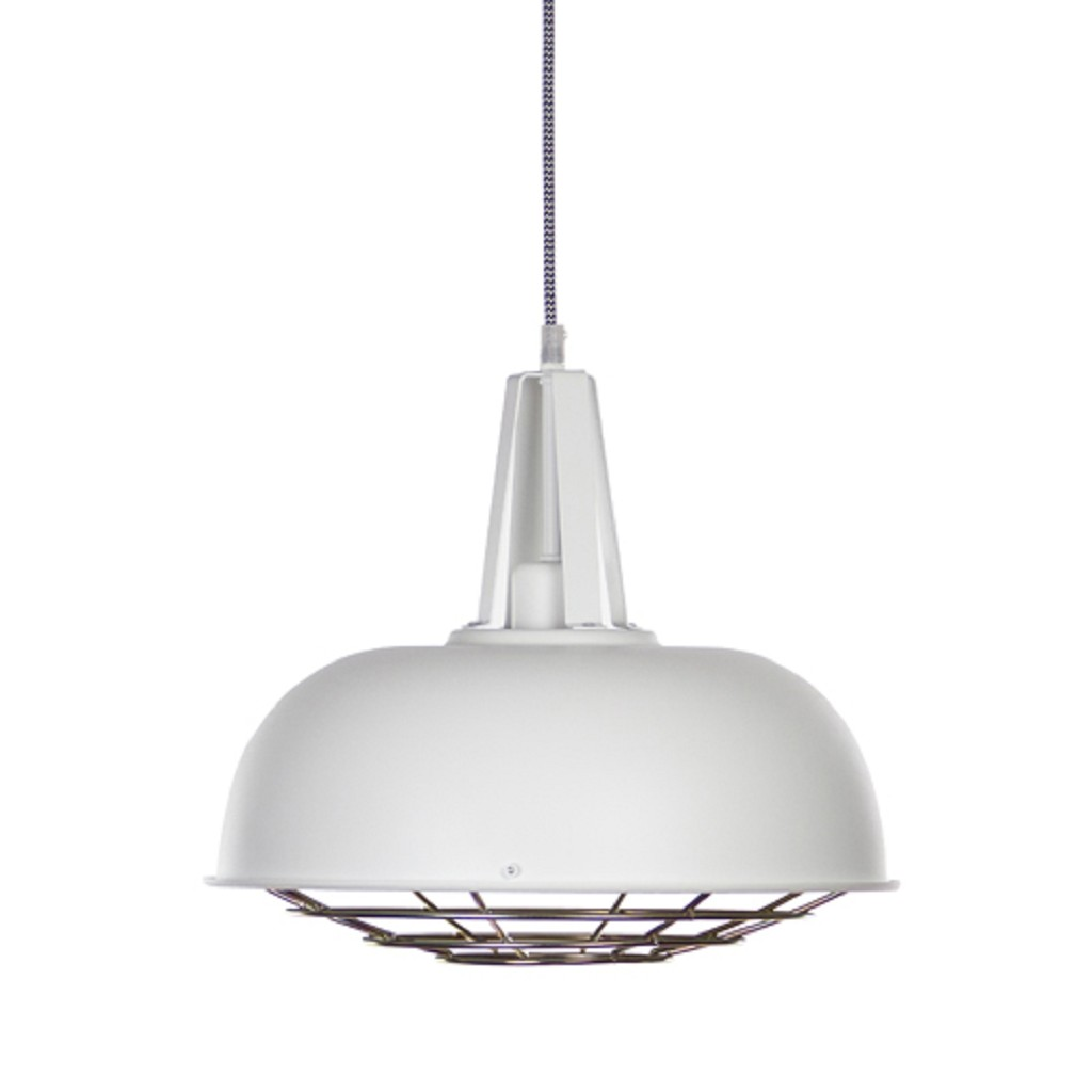 *Witte hanglamp industrie rond rooster