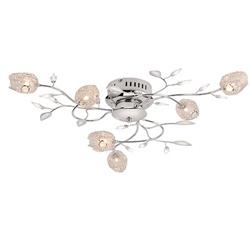 Romantische plafondlamp chroom bloem