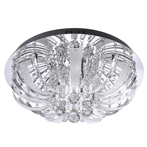 Plafondlamp chroom, kristal rond