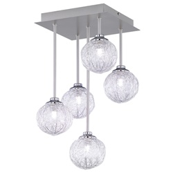Plafondlamp nikkel, staaldraad bollen