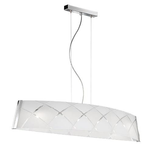 Eettafel hanglamp chroom glas ovaal