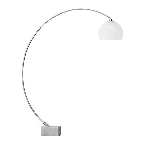**Vloerlamp-booglamp staal, witte kap