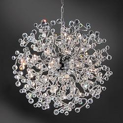 Vide hanglamp groot rond chroom/kristal
